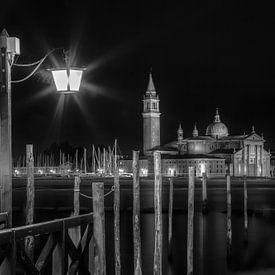 VENEDIG San Giorgio Maggiore bei Nacht s/w von Melanie Viola