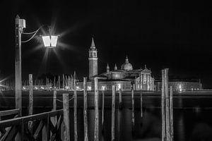 VENEDIG San Giorgio Maggiore bei Nacht s/w