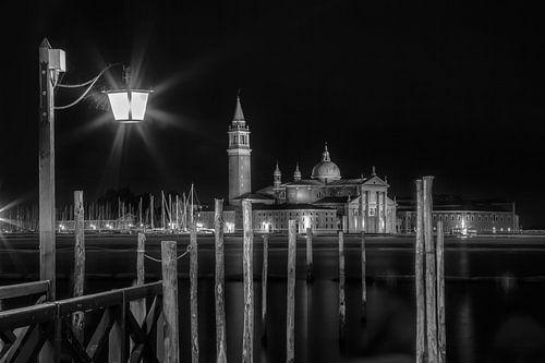 VENEDIG San Giorgio Maggiore bei Nacht s/w von