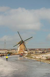 schaatsen bij de molen bij De Lier