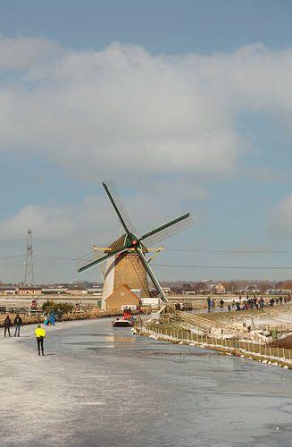 Schlittschuhlaufen an der Windmühle bei De Lier