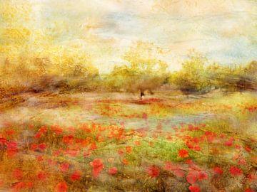 Landschap met papaver van Claudia Gründler