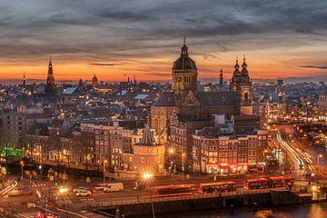 Amsterdam zonsondergang van Aldo Sanso