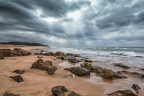 Dreigende lucht boven het strand van De Afrika Specialist