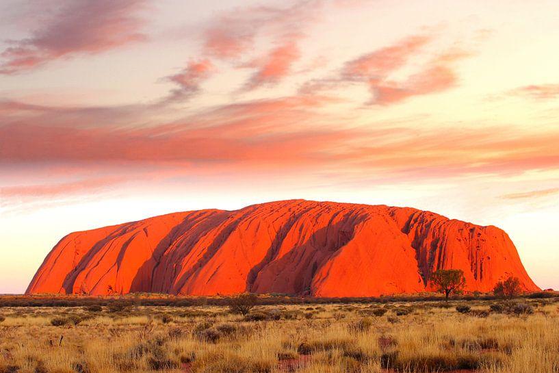 Uluru (Ayers Rock) in brand, Australië van Inge Hogenbijl