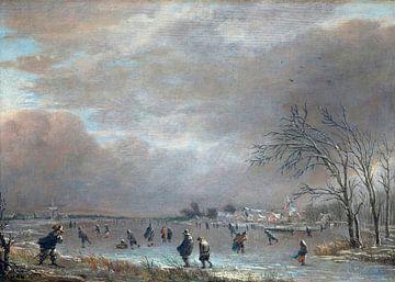 Winterlandschaft mit Schlittschuhläufern auf einem gefrorenen Fluss, Aert van der Neer
