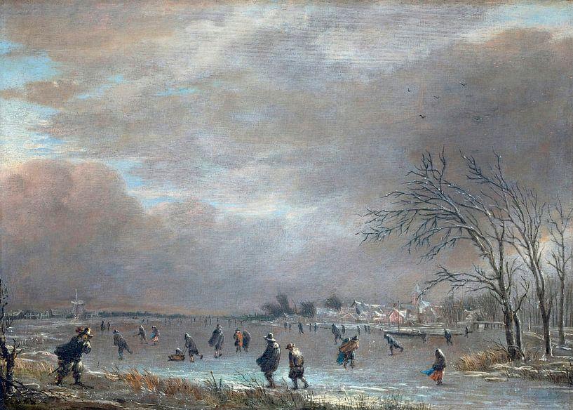 Winterlandschaft mit Schlittschuhläufern auf einem gefrorenen Fluss, Aert van der Neer von Meesterlijcke Meesters