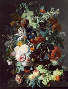 Stilleven met bloemen en fruit, Jan van Huysum