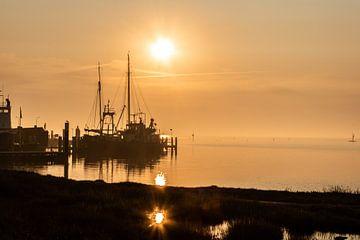 Haven van West Terschelling in de vroege morgen