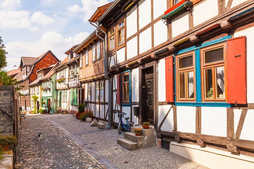 Vakwerkhuizen in Quedlinburg van Werner Dieterich