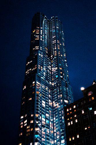 New York wolkenkrabber in de nacht