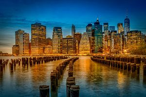 SKYLINE van MANHATTAN, ' s avonds sfeer