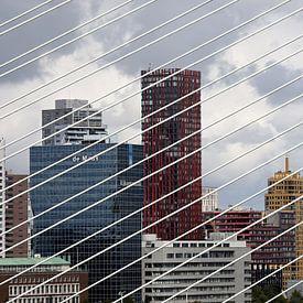 Skyline van Rotterdam gezien door de tuikabels van de Erasmusbrug van W J Kok