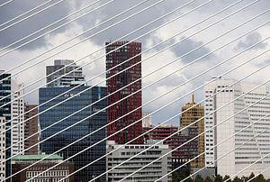 Skyline van Rotterdam gezien door de tuikabels van de Erasmusbrug van