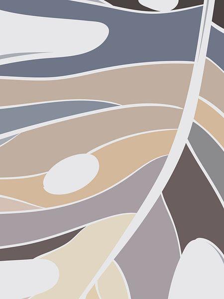 Stilistische Blätter, Monstera (Lochpflanze): Sand, Braun- und Grautöne von Color Square