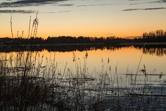 Middernachtzon boven de poolcirkel in Zweden.