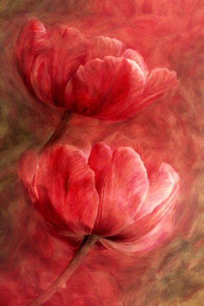 Rote Tulpen abstrakt von Marion Tenbergen
