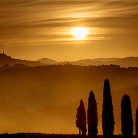 Gouden ochtend uurtje in Val d'Orcia van Filip Staes