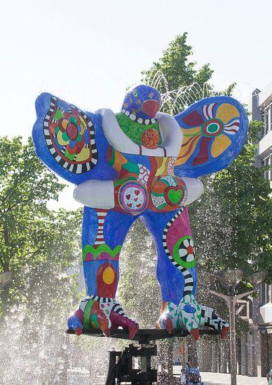 Lifesaver, Brunnenskulptur von Niki de Saint Phalle und Jean Tinguely, Duisburg, Ruhrgebiet, Nordrhe