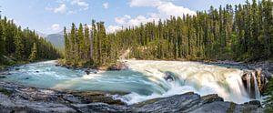 Panoramisch beeld van Sunwapta Falls