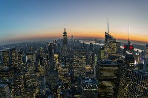 Manhattan na zonsondergang van