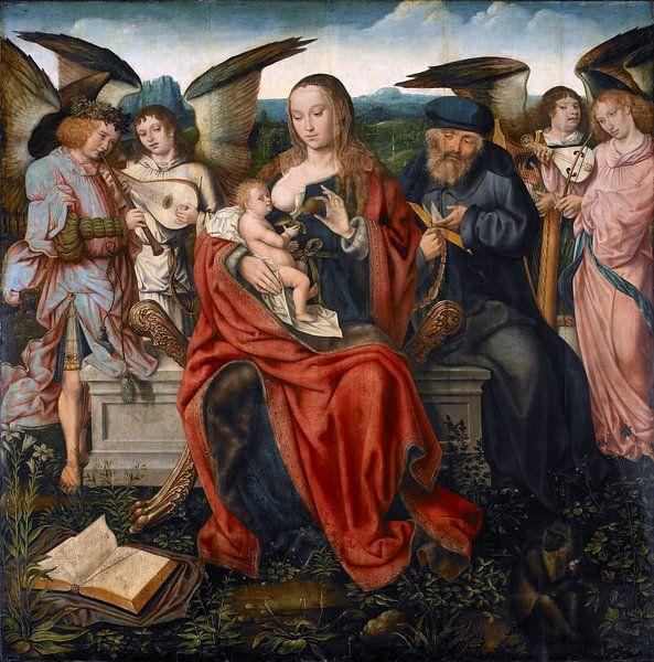 Die heilige Familie mit musizierenden Engeln von Marieke de Koning