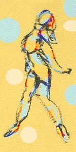 Vrouw in beweging van