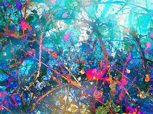 Modernes, abstraktes digitales Kunstwerk in Blau, Orange, Rot