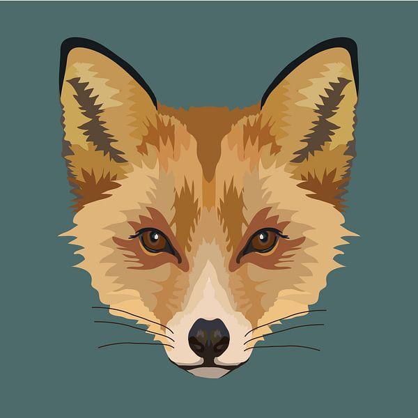 Fuchs-Illustration mit dunkelgrünem Petrol-Hintergrund von Anne Dellaert
