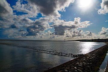 wolkenvelden belicht over watermassa van wil spijker