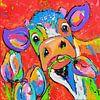 Koe rood met tulpen van Vrolijk Schilderij thumbnail