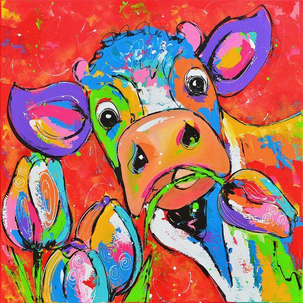 Koe rood met tulpen van Vrolijk Schilderij