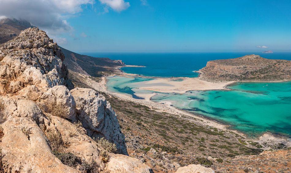 De balos lagune met kaap Tigani, Kissamos, Crete, Griekenland