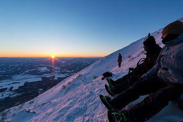 Zonsopkomst op Mt Yotei. Hokkaido, Japan 2018 van