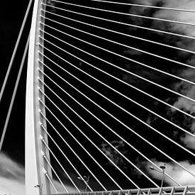 De 'Assut de l'Or Bridge' - kabelbrug in Valencia (z/w) van Wesley Flaman