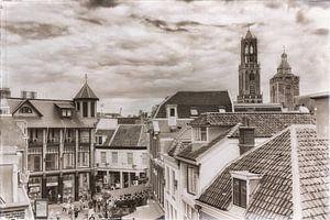 Oude stad Utrecht in zwartwit