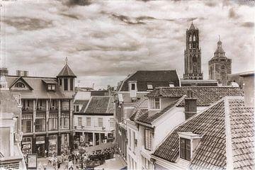 Oude stad Utrecht in zwartwit van