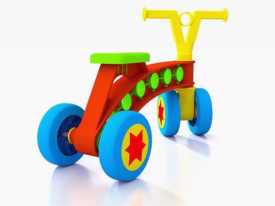 Kinder speelgoed fiets op vier wielen van Jan Brons
