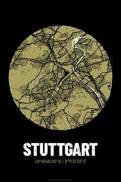 Stuttgart – City Map Design Stadtplan Karte (Grunge) von