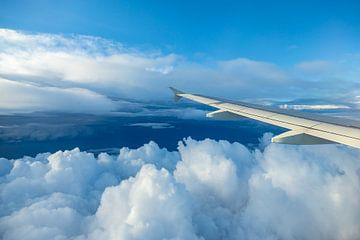 Wolken en vliegtuig vleugel van Inge van den Brande