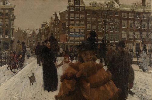 Amsterdam Schilderij, De Singelbrug bij de Paleisstraat in Amsterdam van