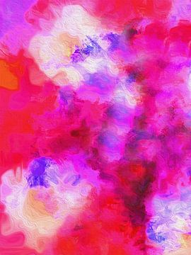 Abstract bloemenpalet rood en lila van Joost Hogervorst