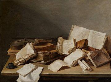Stilleven met boeken en een viool sur Diverse Meesters