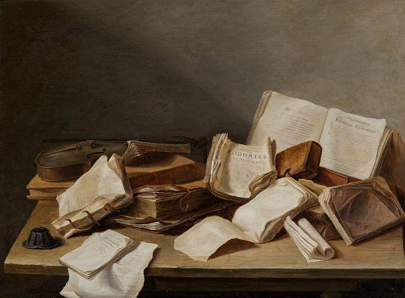 Stilleven met boeken en een viool van Diverse Meesters