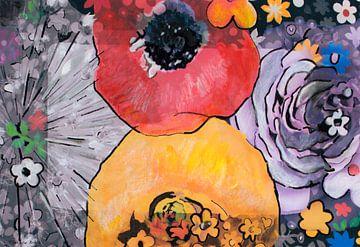Mischtechnik mit Blumen von Therese Brals
