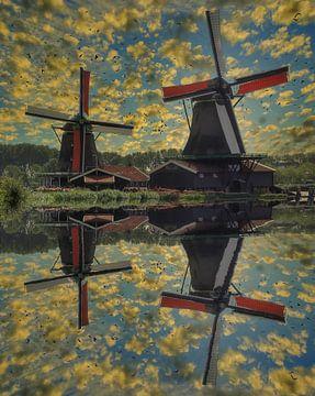 Wasserreflexion, Zaanse Schans, Niederlande von Maarten Kost