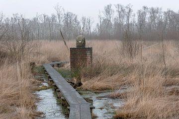 Grenspaal in natuurreservaat het Wooldse veen in Winterswijk van Tonko Oosterink