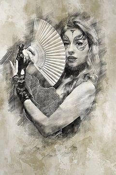 Frau mit Fächer (Zeichnung) von Art by Jeronimo
