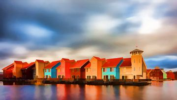 Impressionniste Reitdiephaven Groningen sur Reina Nederland in kleur