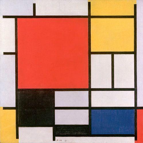 Piet Mondriaan. Composition en rouge, jaune, bleu et noir van 1000 Schilderijen